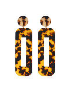 Rectangle Hollow Leopard Drop Earrings - Multi-a