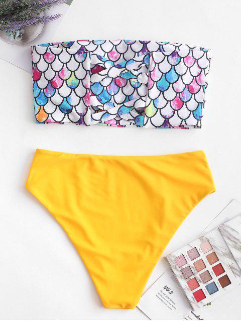 ZAFUL Scale Imprimir Cross Bandeau Mermaid Bikini Swimsuit - Amarelo Brilhante 2XL Mobile