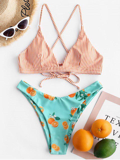 ZAFUL Maillot de Bain Bikini Rayé Orange à Jambe Haute à Lacets - Multi-A S Mobile