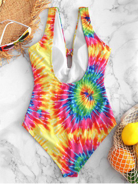 Bañador de una pieza ZAFUL Knot Rainbow Spiral Tie Dye Print - Multicolor-A M Mobile