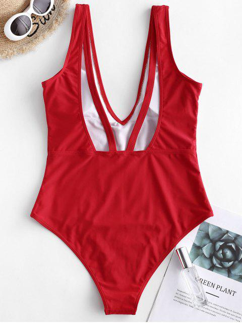 fancy ZAFUL Plunging Open Back One-piece Swimsuit - RED L Mobile