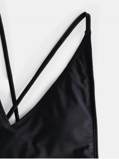 ZAFUL Перекрестные шнурки Открытая спина Купальник - Чёрный S Mobile