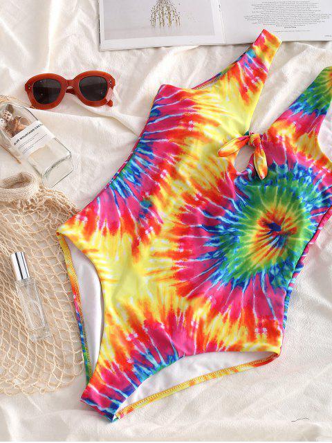 Bañador de una pieza ZAFUL Knot Rainbow Spiral Tie Dye Print - Multicolor-A L Mobile