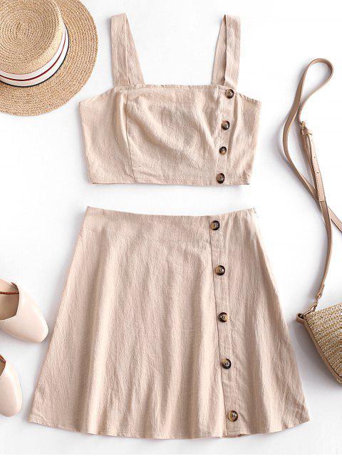 fancy ZAFUL Buttoned Smocked Back Top and A Line Skirt Set - LIGHT KHAKI M Mobile