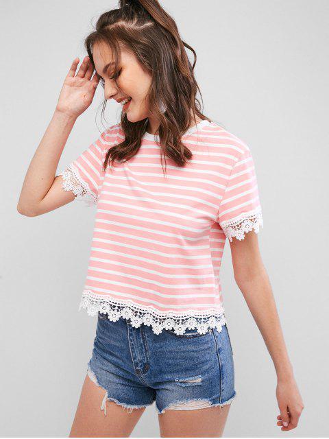 T-shirt Panneau Rayé Festonné au Crochet - Rose Flamant S Mobile