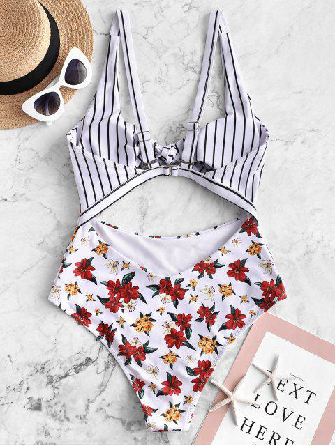 ZAFUL Flower Striped Tied Monokini traje de baño - Blanco S Mobile