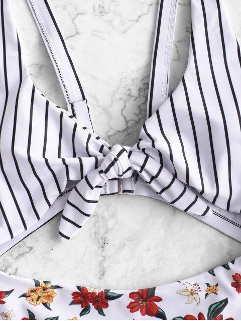 ZAFUL Flower Striped Tied Monokini traje de baño - Blanco M Mobile
