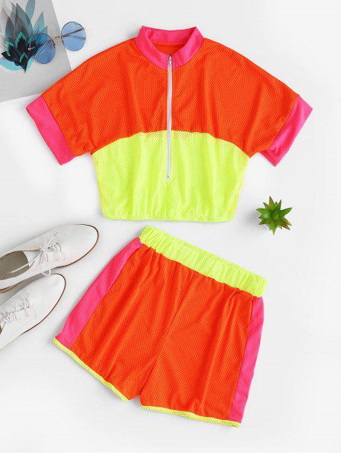 Conjunto de pantalones cortos de neón de contraste transpirable de media cremallera - Multicolor-B S Mobile
