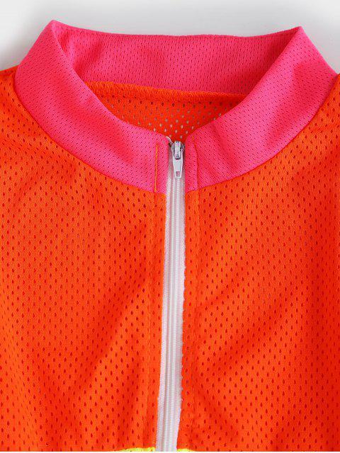 Conjunto de pantalones cortos de neón de contraste transpirable de media cremallera - Multicolor-B M Mobile