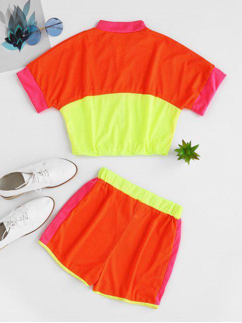 Conjunto de pantalones cortos de neón de contraste transpirable de media cremallera - Multicolor-B XL Mobile