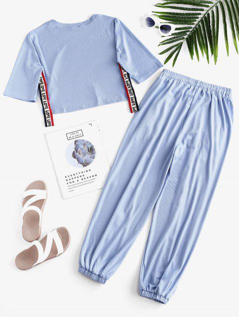Conjunto de pantalones de bolsillo acanalados con gráfico de amor - Azul Denim M Mobile