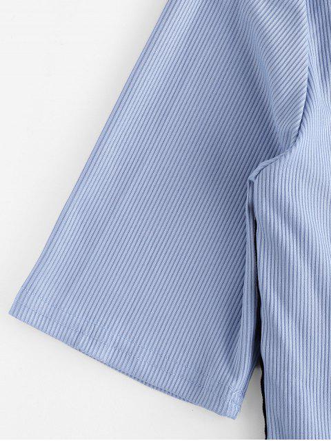 Conjunto de pantalones de bolsillo acanalados con gráfico de amor - Azul Denim L Mobile