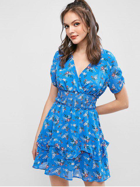 shops ZAFUL Ditsy Floral Surplice Chiffon Ruffled Dress - BLUEBERRY BLUE S Mobile