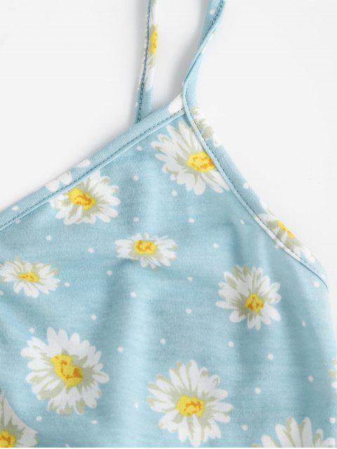 ZAFUL Camisole Courte Fleur Sanglée - Bleu Bébé M Mobile