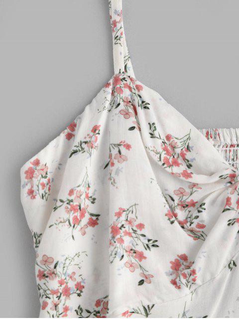 ZAFUL Robe d'Eté Fleurie Tordue à Bretelle à Volants - Blanc Naturel M Mobile