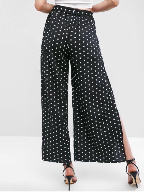 Pantalon Ceinturé Fendu à Jambe Large - Noir L Mobile