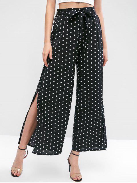 Pantalon Ceinturé Fendu à Jambe Large - Noir M Mobile