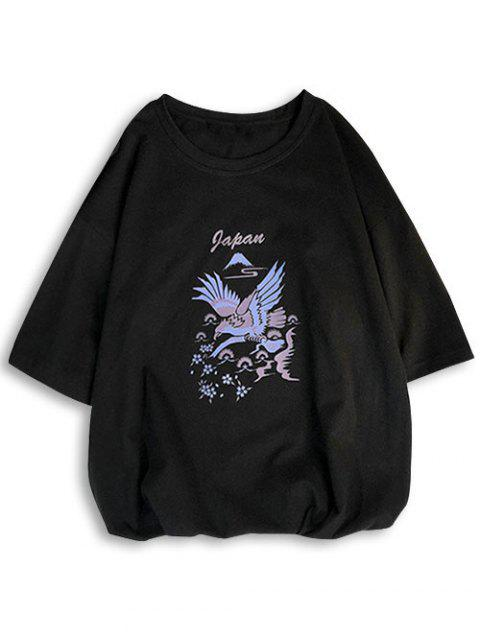 T-shirt à manches courtes et à motif de lettre de pintade - Noir L Mobile