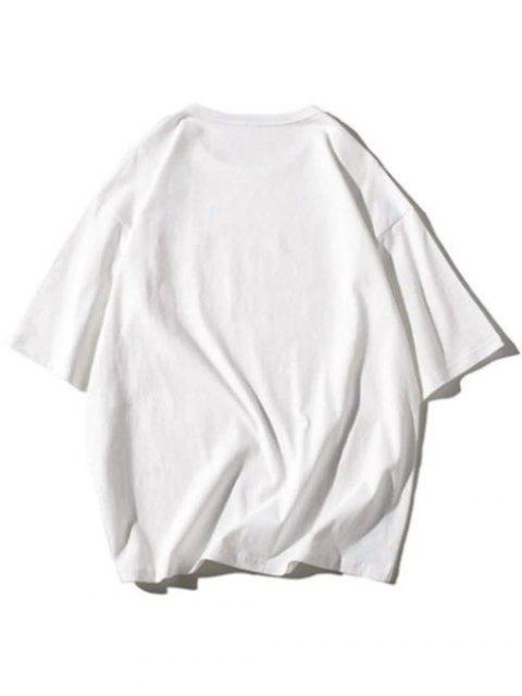 T-shirt Lettre Imprimée à Manches Courtes - Blanc L Mobile