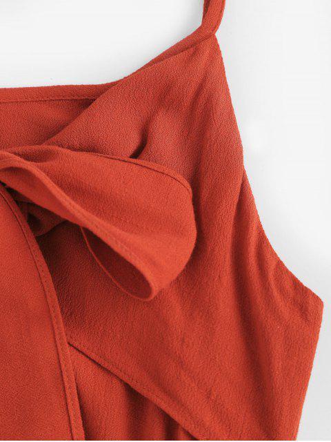 ZAFUL Robe Nouée Découpée Ourlet à Volants à Bretelle - Rouille S Mobile