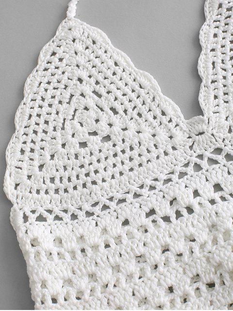 Haut au Crochet à Col Halter à Lacets - Blanc L Mobile