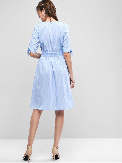 Robe Nouée Rayée Imprimée à Col Plongeant - Bleu Pastel S Mobile