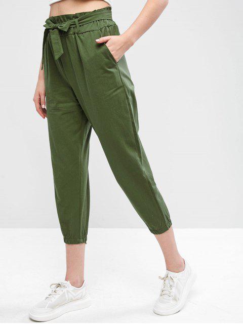 Pantalon Paperbag Capri Ceinturé en Couleur Unie - Vert Noisette Taille Unique Mobile