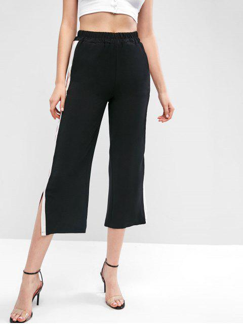 Pantalones de talle alto con rayas anchas de talle alto - Negro S Mobile