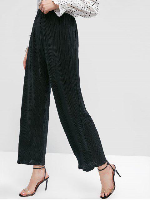 Pantalon large taille haute plissé - Noir M Mobile