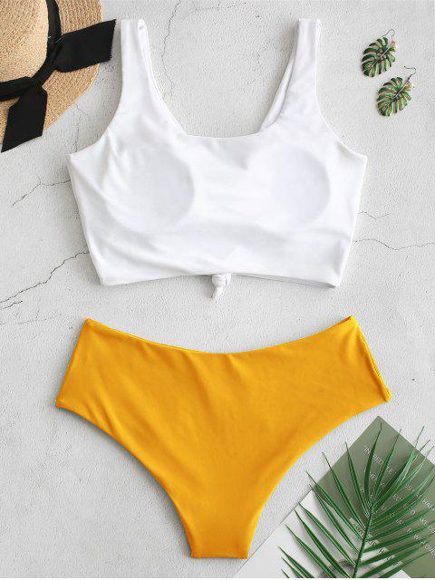 latest ZAFUL Knotted Color Block Tankini Set - BRIGHT YELLOW M Mobile