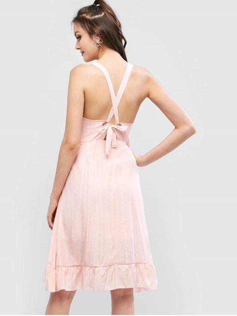 Robe Noué à Volants à œillet - Cerisier Rose L Mobile