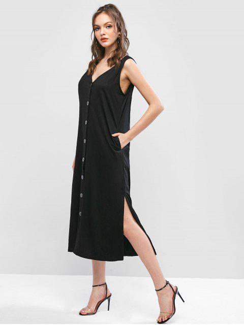 Robe Boutonnée Sans Manches en Couleur Unie à Col V - Noir XL Mobile