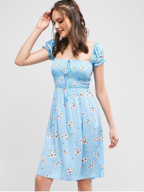 ZAFUL - Robe fendue nouée à imprimé fleuri et aux smocks - Bleu Ciel Léger  L Mobile