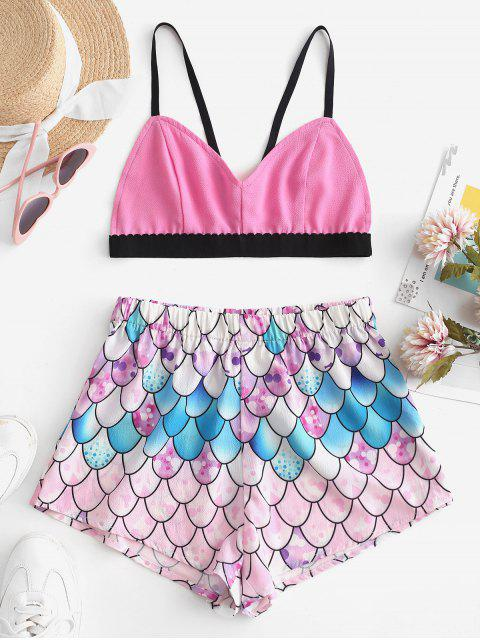 women ZAFUL Bralette Top And Mermaid Scale Shorts Set - MULTI S Mobile