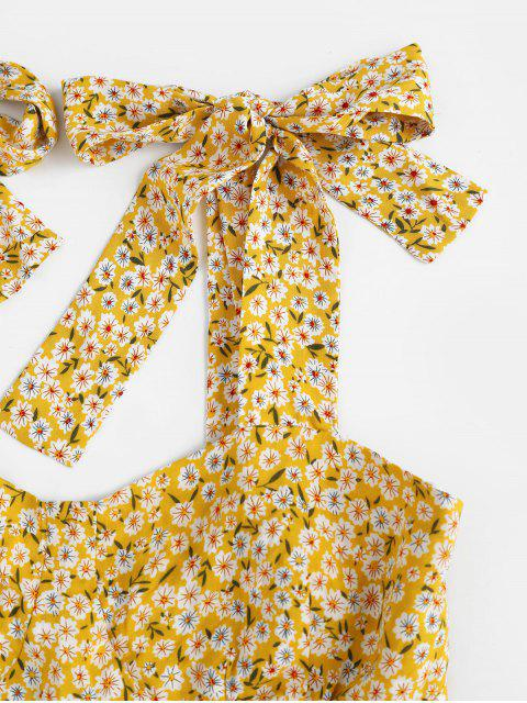 ZAFUL Robe Fleure Imprimée à Epaule Nouée - Jaune d'Abeille S Mobile