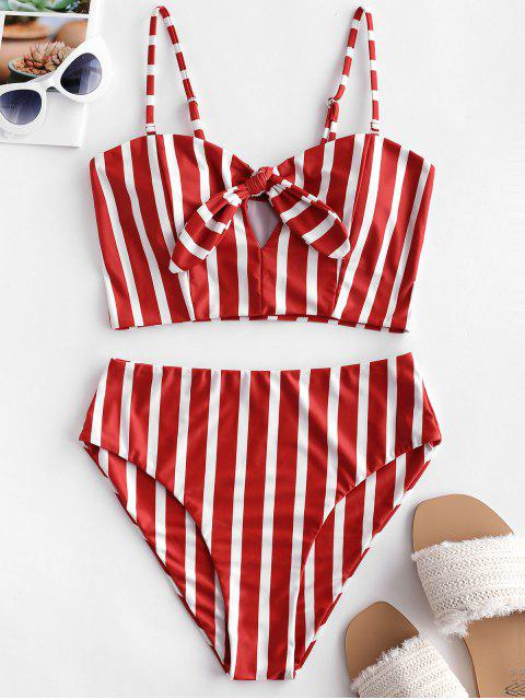 womens ZAFUL Striped Tied Keyhole Tankini Swimsuit - CHESTNUT RED M Mobile
