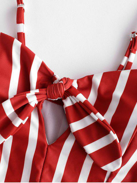 ZAFUL Striped Tied Keyhole Tankini traje de baño - Castaño Rojo L Mobile