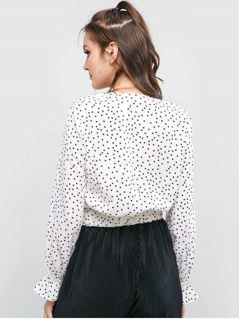 women ZAFUL Plunge Twist Polka Dot Blouse - WHITE L Mobile