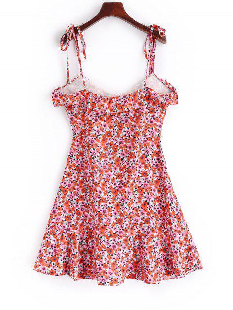 Vestido cami floral con volantes y botones - Multicolor S Mobile