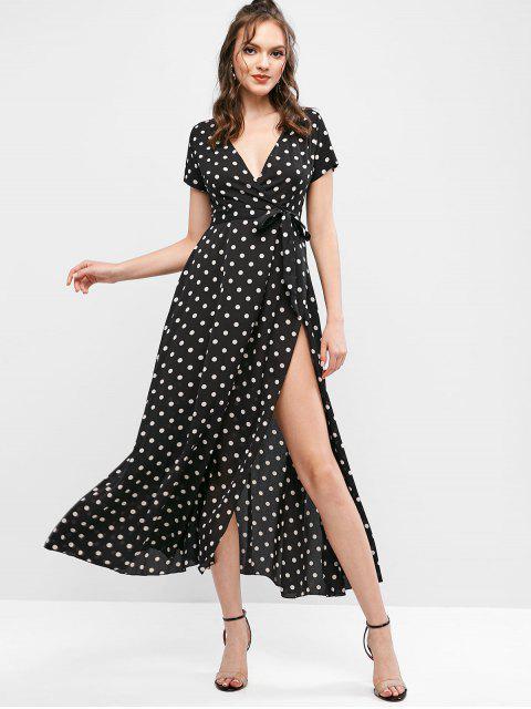 chic Polka Dot Belted Overlap Maxi Dress - BLACK M Mobile
