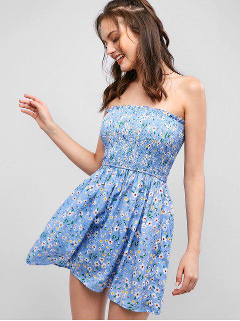 ZAFUL Robe Fleurie Imprimée Sans Bretelle à Volants - Bleu Léger  S Mobile