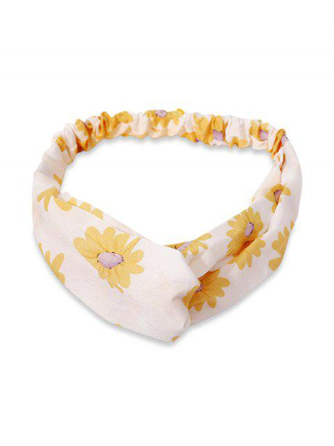 outfits Flower Print Elastic Hair Band - YELLOW  Mobile