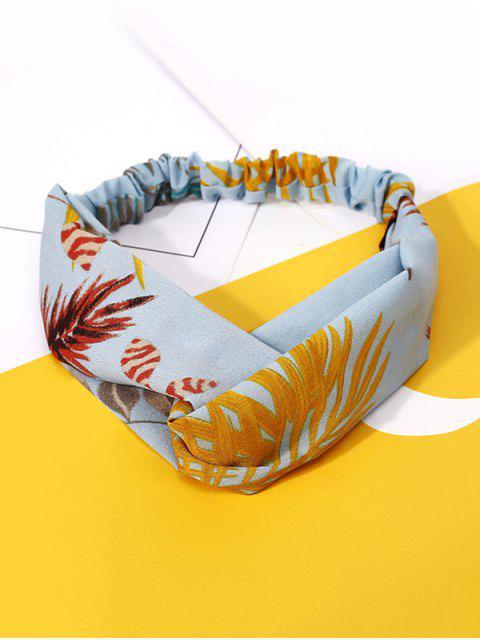 chic Leaf Print Elastic Hair Band - LIGHT BLUE  Mobile