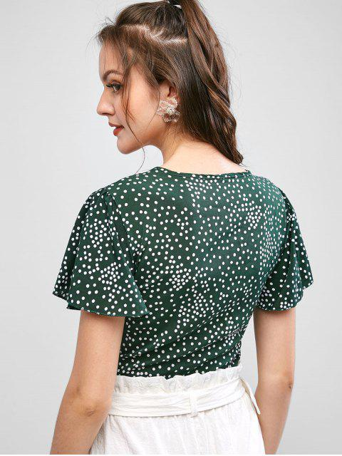 affordable Tie Front Dotted Cropped Blouse - GREEN XL Mobile