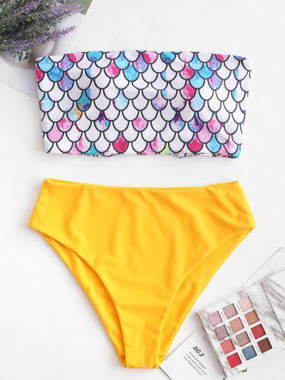 ZAFUL Scale Print Cross Bandeau Mermaid Bikini Swimsuit - Bright Yellow M