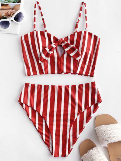 ZAFUL Striped Tied Keyhole Tankini Swimsuit - Chestnut Red S