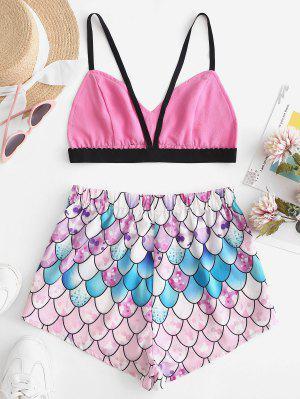 zaful ZAFUL Bralette Top And Mermaid Scale Shorts Set