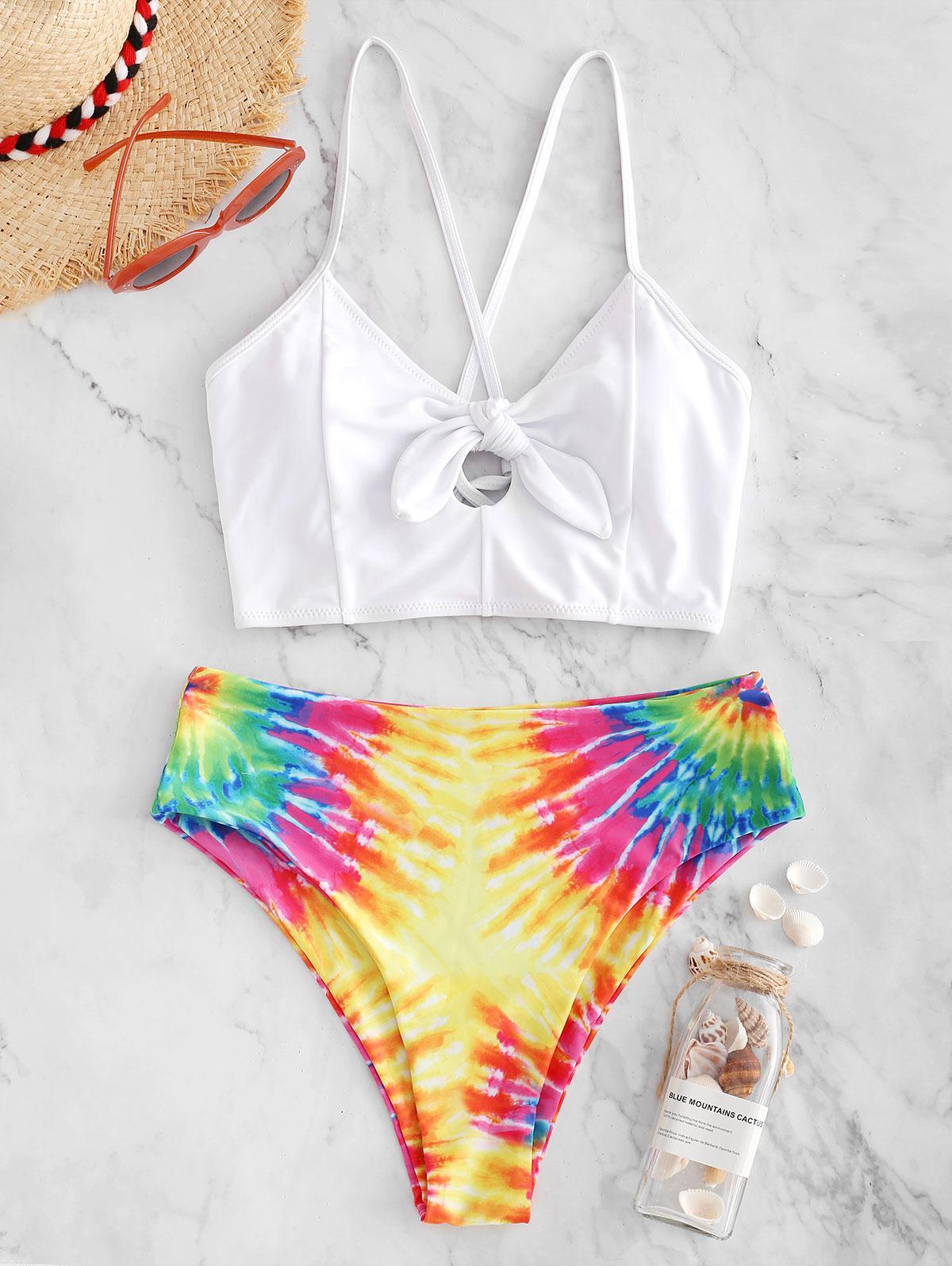 ZAFUL Knot Crisscross Rainbow Tie Dye Tankini Swimsuit, Multi-a