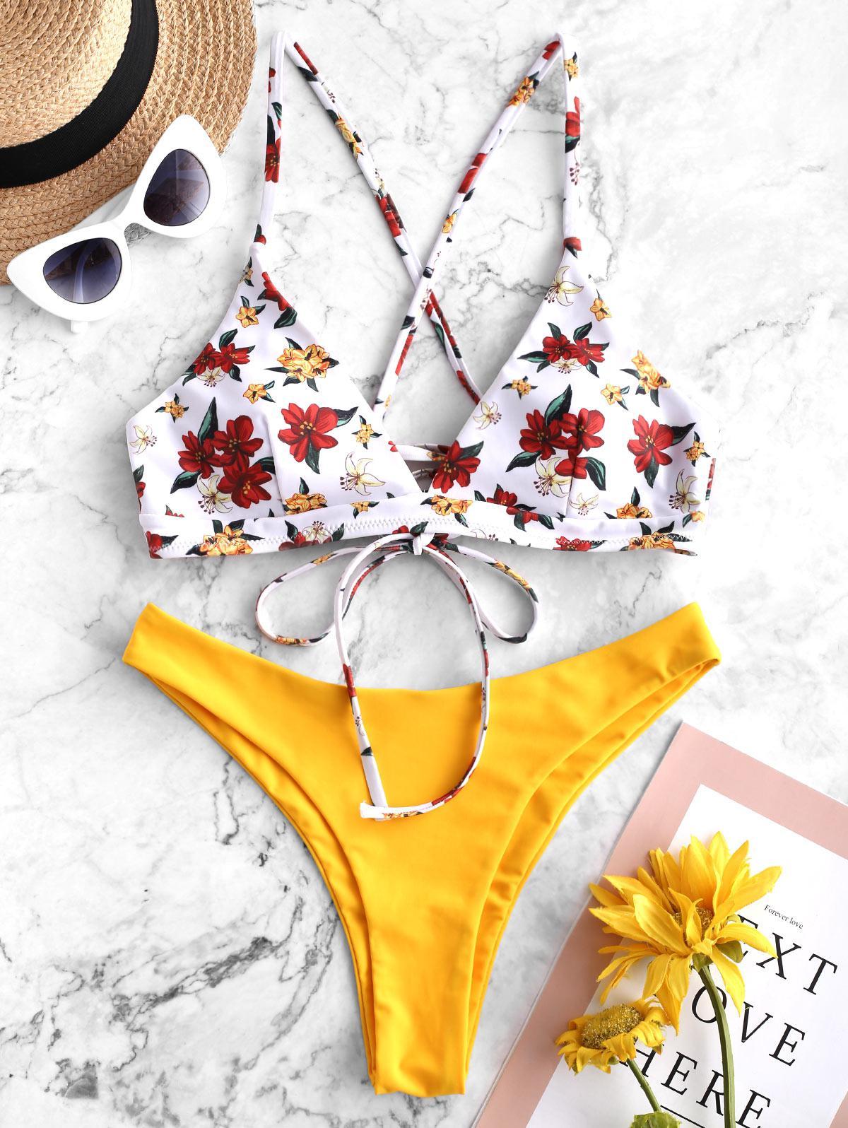ZAFUL Lace Up Floral Mix and Match Bikini Swimsuit, Bright yellow