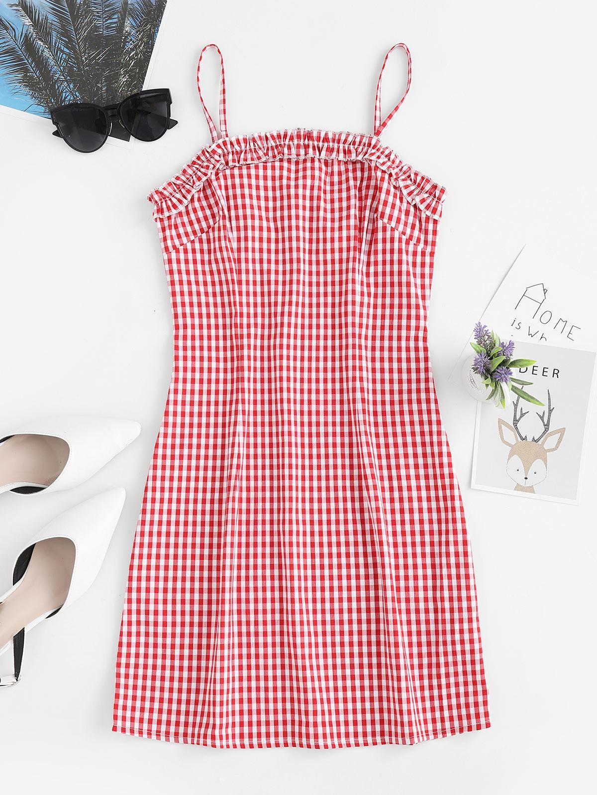 ZAFUL Ruffles Plaid Cami Mini Dress, Red
